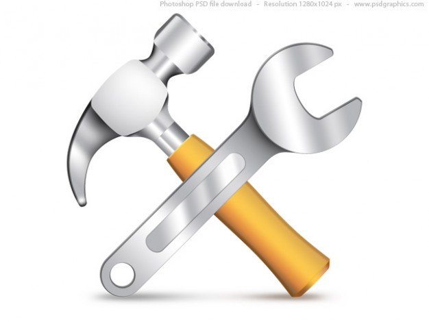 Settings icon psd hammer and wrench 30 2396
