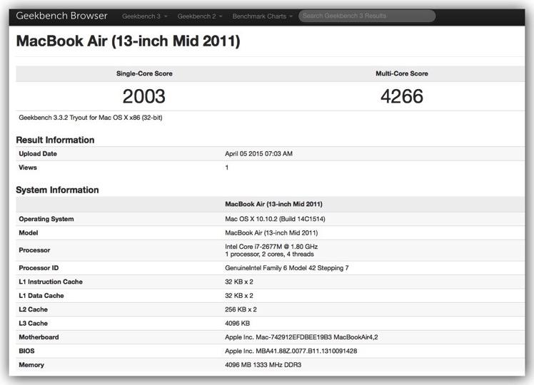 150405 macbookair mid 2011 geekbench