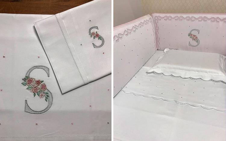 Produtos artesanais para enxoval - roupa de cama bordada Ponto Por Ponto - It mãe