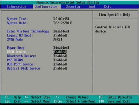Verifiering av Bluetooth-status i Phoenix / Ami BIOS