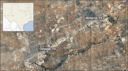 Map of Odessa-Midland, TX