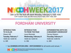 Workshops at Fordham DH Week