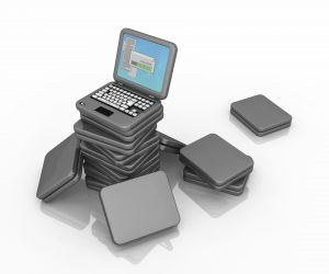 Pile of tiny cartoon laptops, 3d illustration, horizontal, isolated