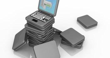 Pile of tiny cartoon laptops, 3d illustration, horizontal, isolated