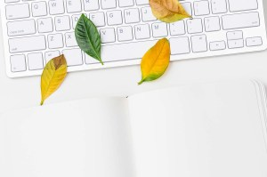 Keyboard with fall leaves