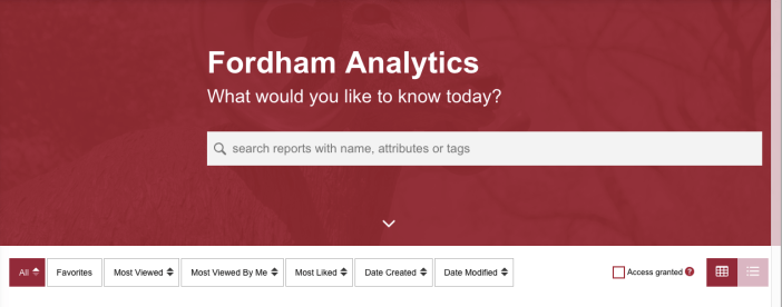 Screenshot of Analytics Landing page