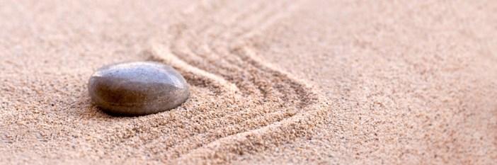 Zen stone and sand, panoramic zen still life