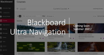 Blackboard Ultra Navigation layout showing current courses, sidebar list says activity stream, calendar, organizations, messages, grades, tools, sign out