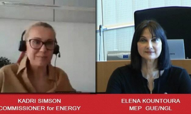 """Έλενα Κουντουρά προς Επίτροπο Σίμσον: """"Εξασφαλίστε στο Σχέδιο Ανάκαμψης πόρους για την αντιμετώπιση της ενεργειακής φτώχειας – Στηρίξτε τα ευάλωτα νοικοκυριά στην ΕΕ"""""""