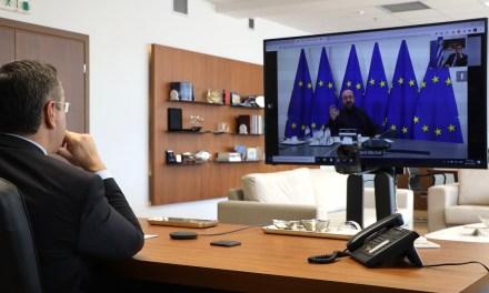 Τηλεδιάσκεψη του Προέδρου της Ευρωπαϊκής Επιτροπής των Περιφερειών, Περιφερειάρχη Κεντρικής Μακεδονίας, Απόστολου Τζιτζικώστα με τον Πρόεδρο του Ευρωπαϊκού Συμβουλίου Charles Michel
