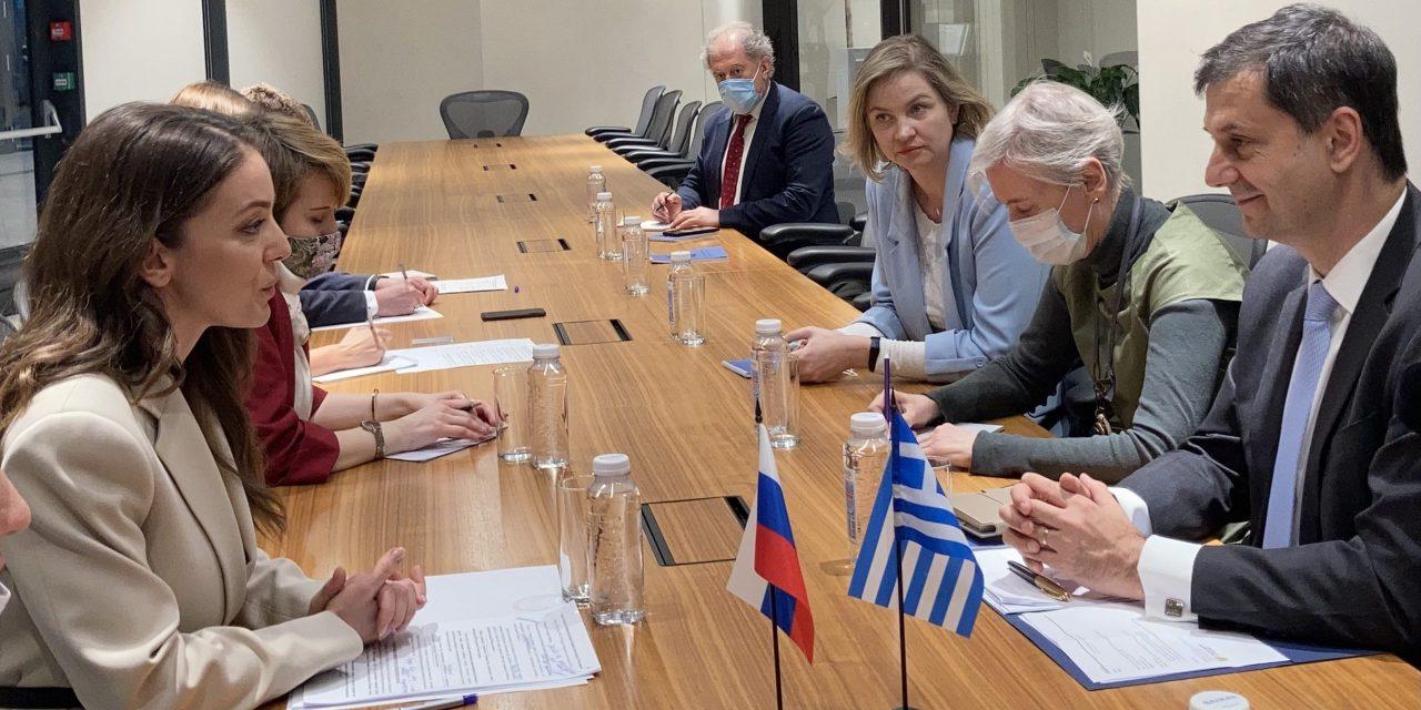 Συνάντηση Θεοχάρη με την επικεφαλής του Ομοσπονδιακού Οργανισμού Τουρισμού της Ρωσίας Zarina Doguzova