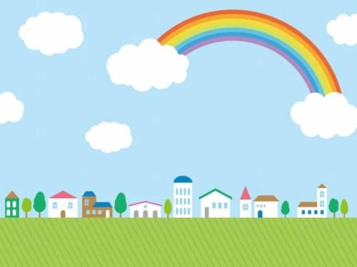 虹のあるまちなみ