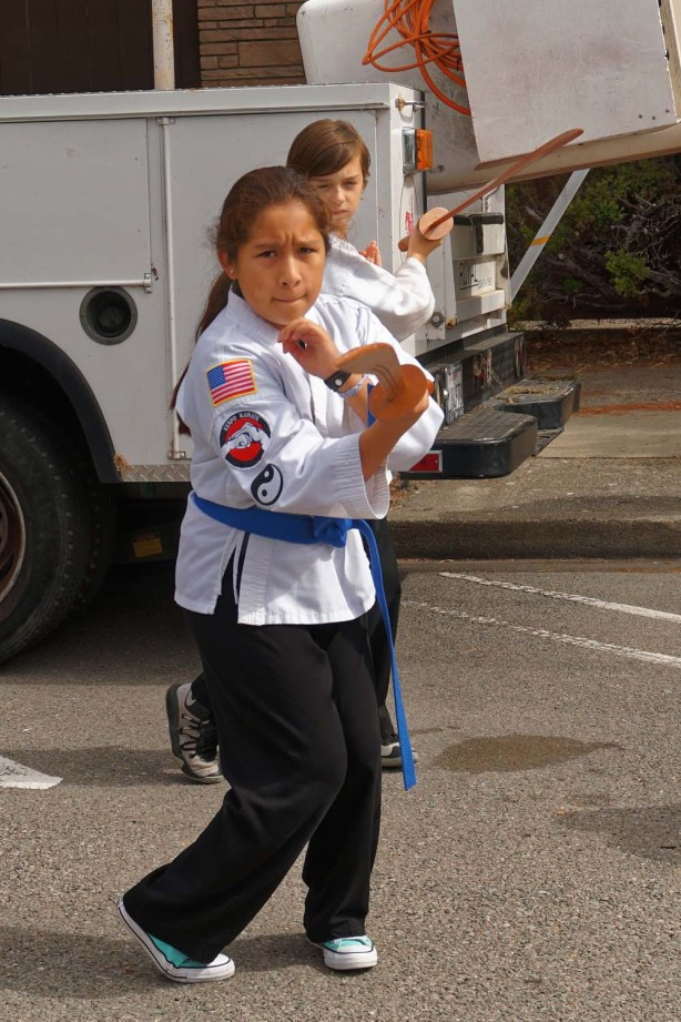 Blue belt with wooden sword