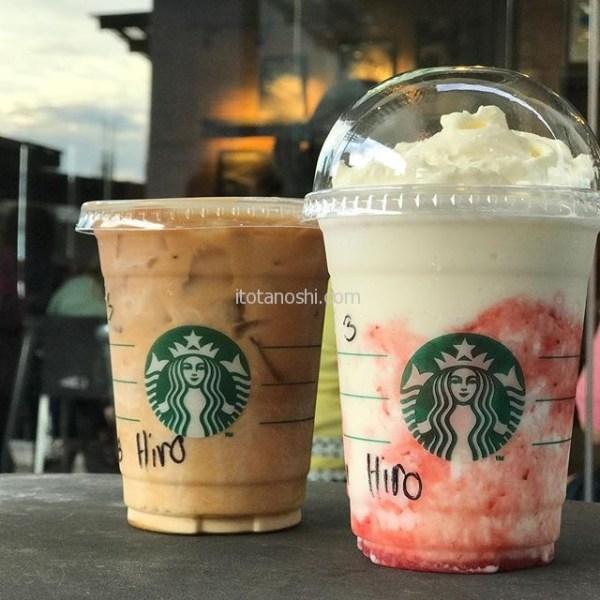 セブ島のスタバ。Vanilla Sweet Cream Cold BrewStrawberries and Cream Frappuccino