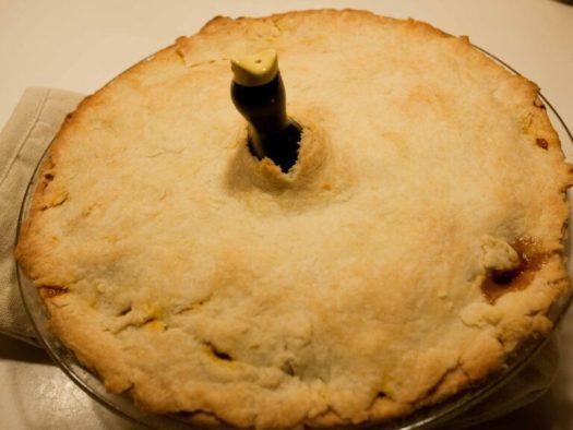 A pie bird in a pie