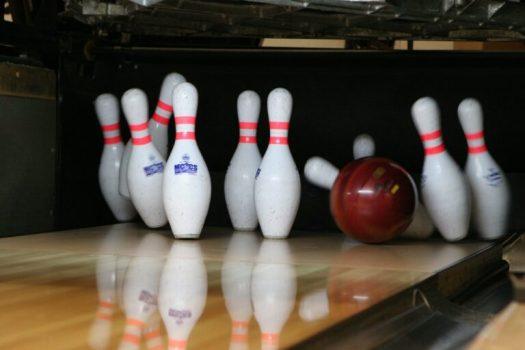 Bowling pins falling