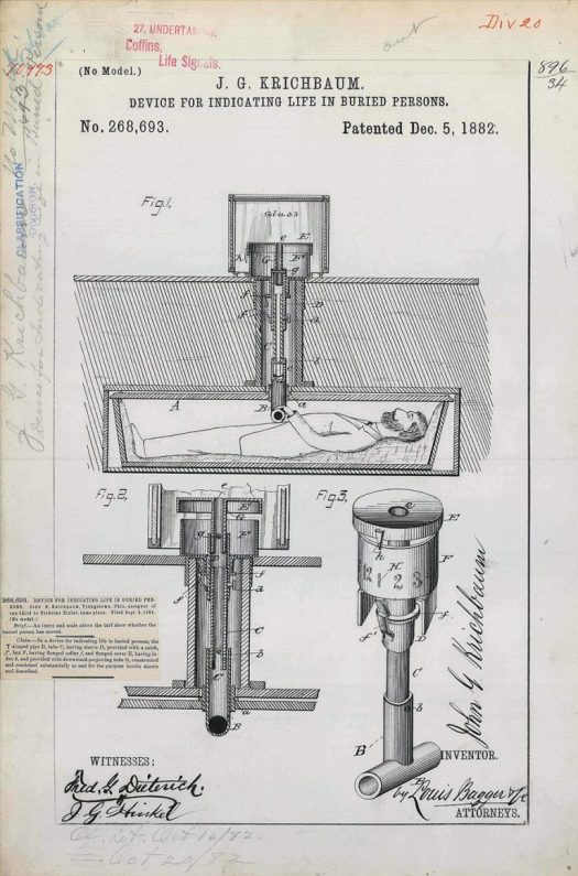 Patent Drawing for J. G. Krichbaum's Device for Indicating Life in Buried Persons