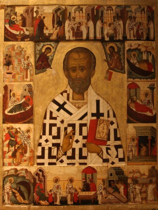 Russian icon depicting St Nicholas with scenes from his life.