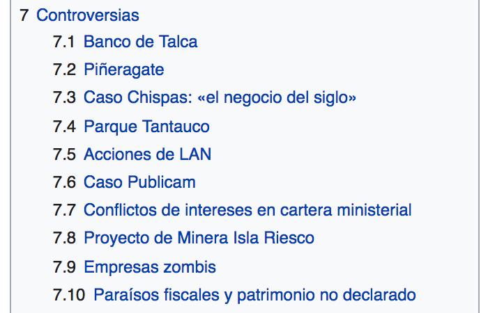 Piñera's Wikipedia site