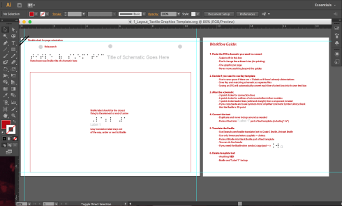Adobe illustrator file for converting schematic SVGS, optimizing the design and translating to Braille