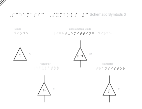4 electronics symbols in triangle containers