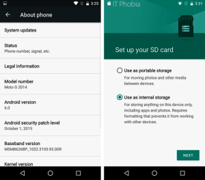 Android 6.0.1 Marshmallow microSD card setup