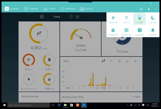 Fitbit app for windows 10 - add logs manually