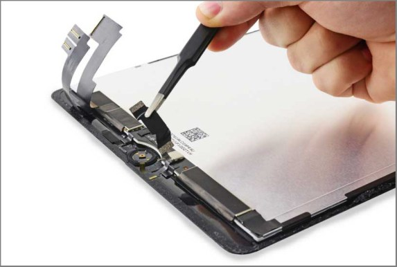 iPad air 2 screen replacement - Step 35 - Remove the Home Button bracket and peel up the tape connected to it