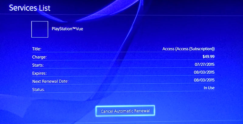 Cancel PlayStation Vue - Services list