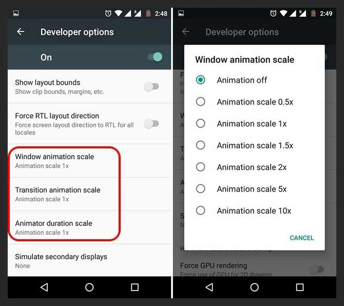android phone tricks Disable Animations