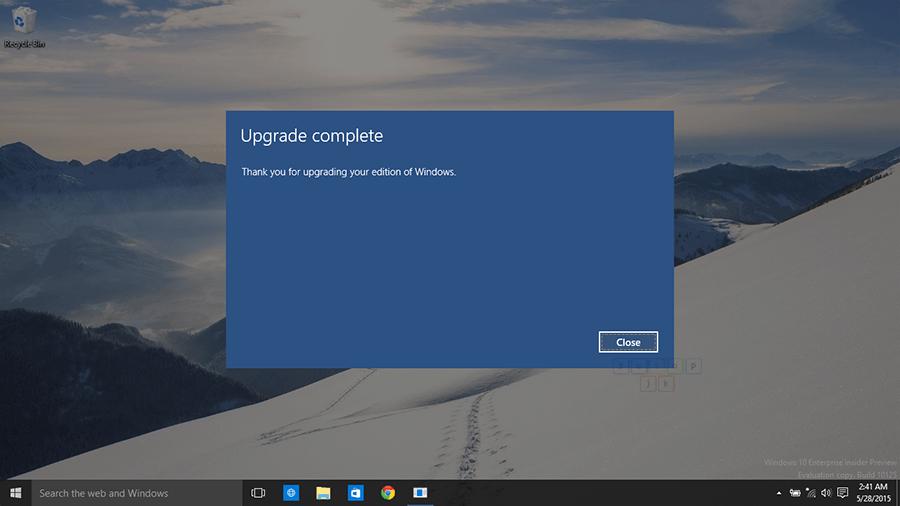 upgrade windows 10 enterprise complete
