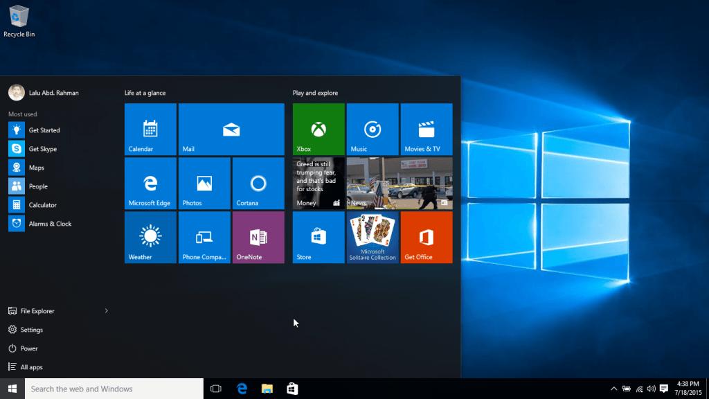 Windows 10 RTM Start Menu
