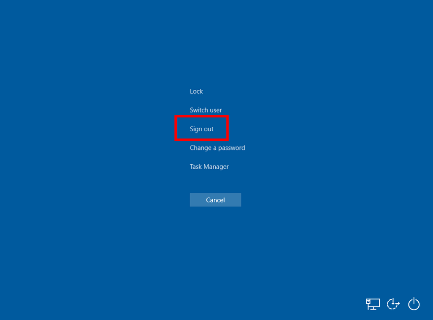 sign out Windows 10 dari ctrl + alt + del