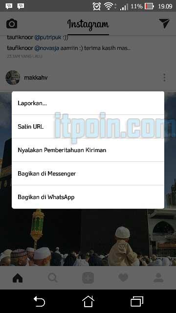 Copy URL Foto dan Video Instagram