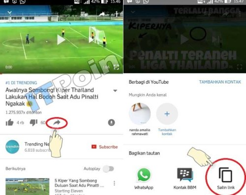 Copy Link Youtube di Android