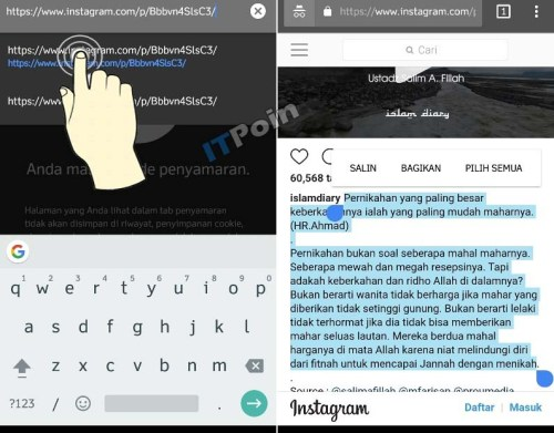 Cara Copy Text di Instagram