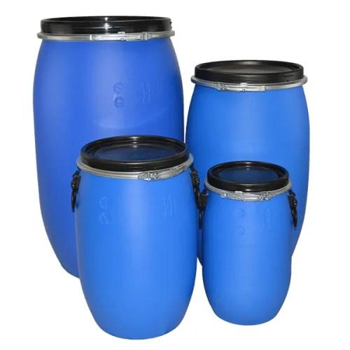 All open top blue plastic drum