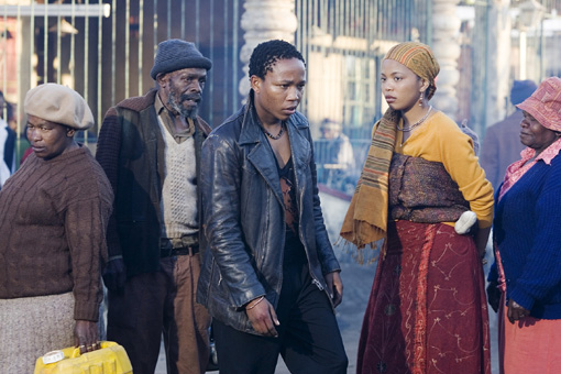 At the beginning of the film, Tsotsi and Miriam pass each other in the crowded streets of the township.