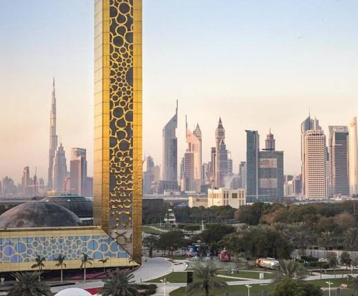 Dubai frame building at sunrise