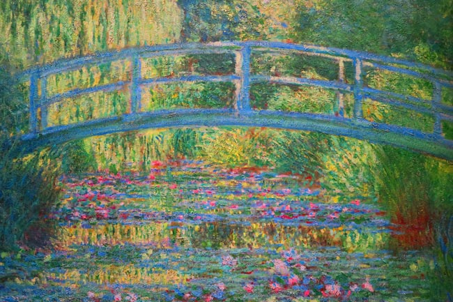 Painting of Monet's Japanese bridge  in Giverny - ukiyo-e influence