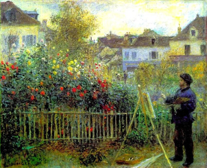Renoir painting of Claude Monet plein air painting in Giverny