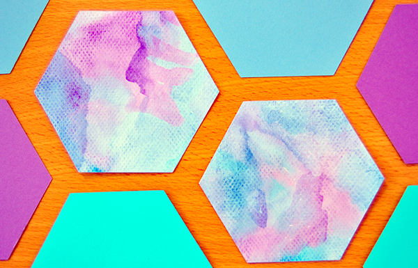 I Try DIY | Watercolor Honeycomb Paper Tiles