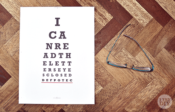 I Try DIY | I Can Read The Letters Eyes Closed