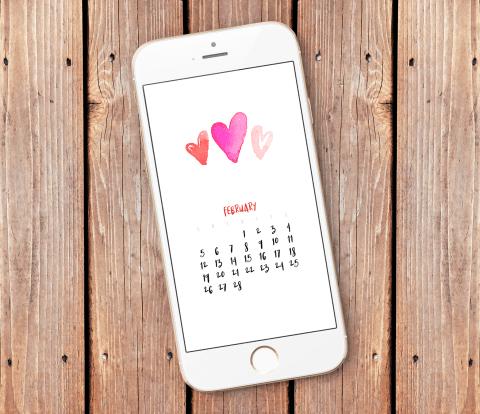 February 2017 Smartphone Wallpaper Calendar