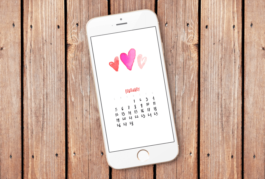I Try DIY | February 2017 Smartphone Wallpaper Calendar