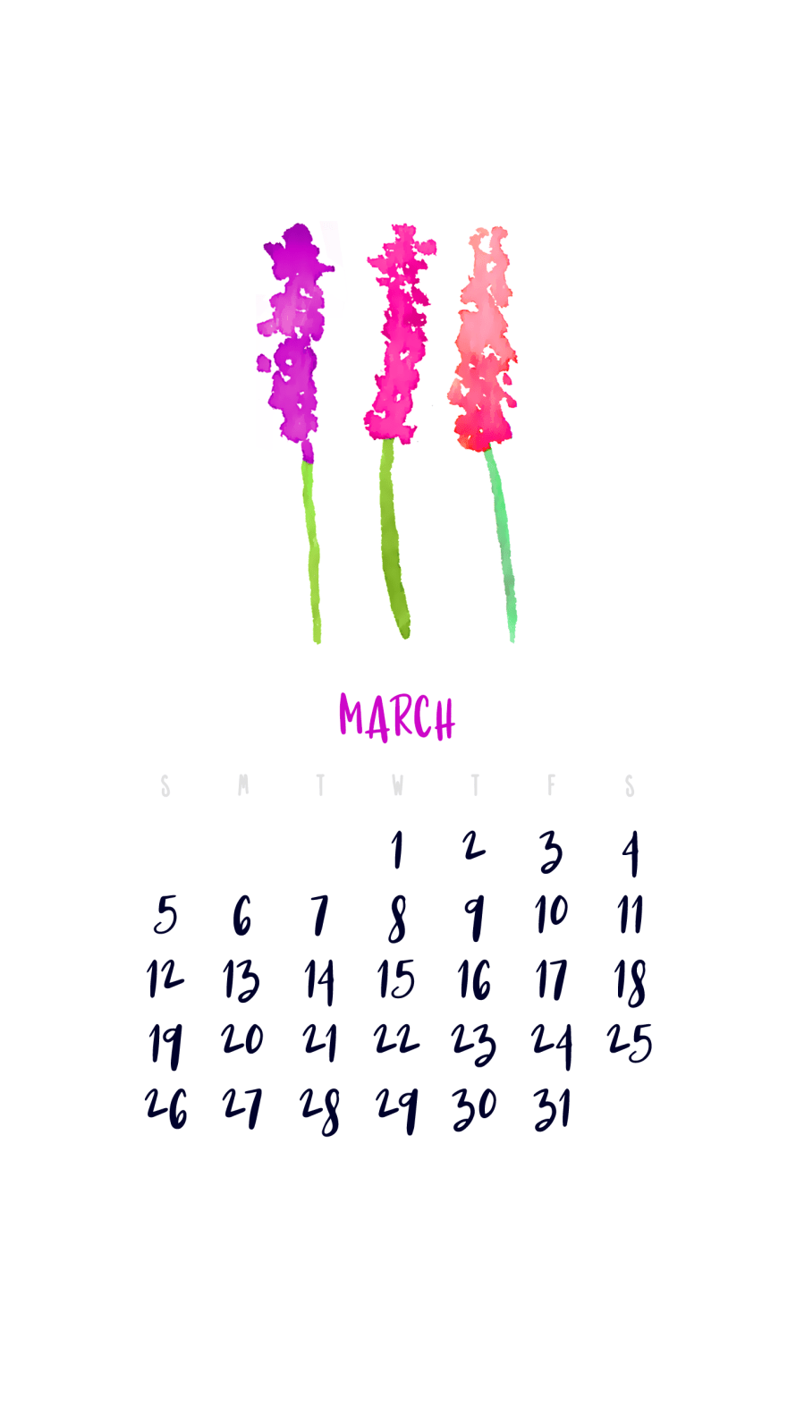 I Try DIY | March 2017 Smartphone Wallpaper Calendar
