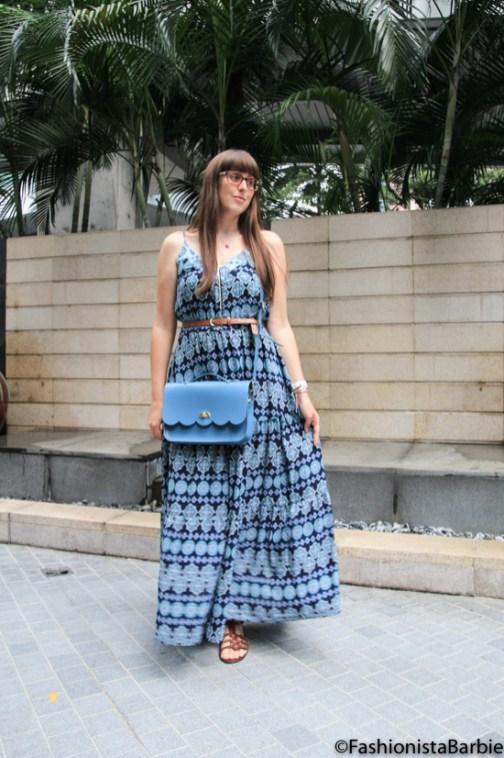 floaty maxi dress, maxi, oasis, my style, fashionista barbie, dress, print, blue, cambridge satchel company