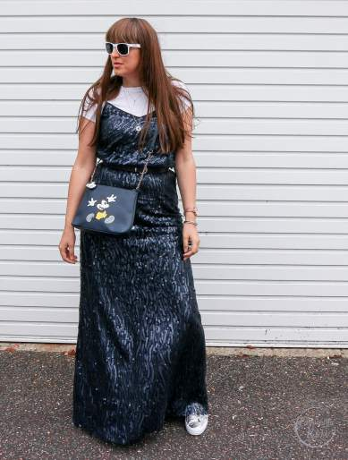 sequin maxi,biba,house of fraser, fashionista barbie, style post, 3 ways to wear a sequin maxi dress, styling a sequin maxi dress, sequin, sequins, fashion, fashion blogger, style blogger, primark, converse, oasis, boohoo, steve madden