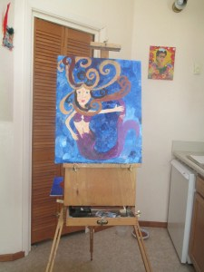 Art Easel with Mermaid Mom Painting