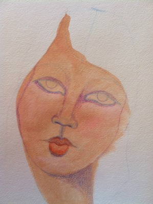 Using colored pencils over the painting of a face.
